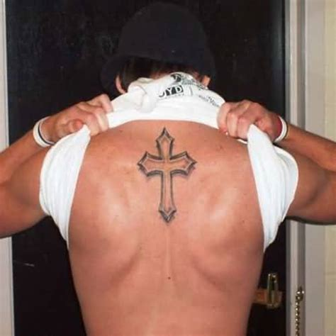 simple cross tattoo on back cool handsome show outstanding simple cross on