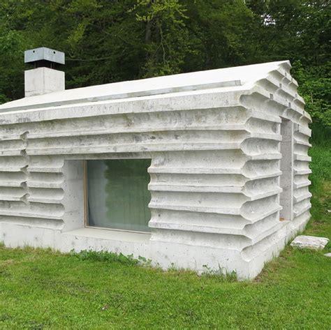 fossilized retreat log cabin remnants recast in concrete