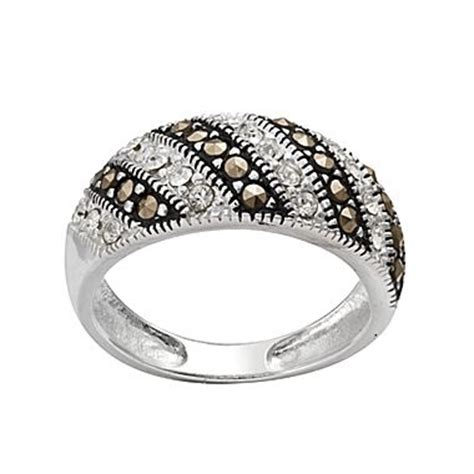 ring silver plated marcasite band jcpenney