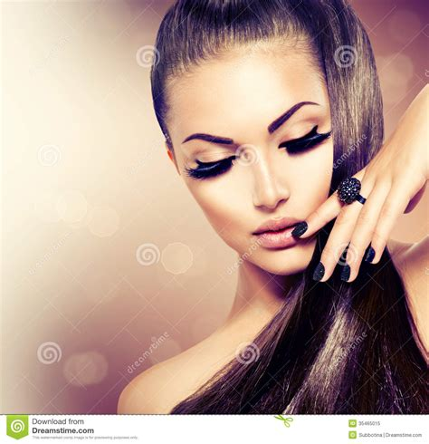 beautiful model hair and make up girl with long healthy brown hair stock image image of