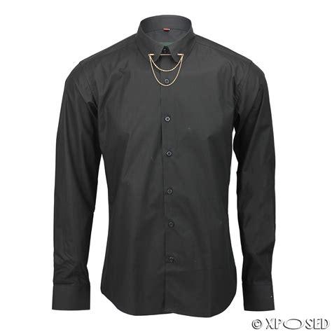 gold chain collar mens shirt slim fit white black pin collar gold chain tie bar cotton mix form ebay