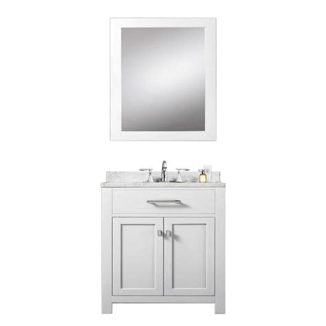 30 Inch White Bathroom Vanity 30 Inch Single Sink Bathroom Vanity With Carerra White Marble Uvwcmadison30w