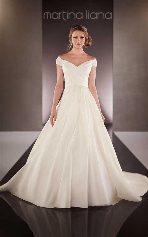 shoulder satin wedding dress martina liana