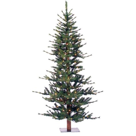 Lovely Artificial Unlit Christmas Trees #1: Vickerman-Co.-Minnesota-Pine-6-Green-Artificial-Half-Christmas-Tree-with-200-Clear-Lights-with-Stand-A803941.jpg