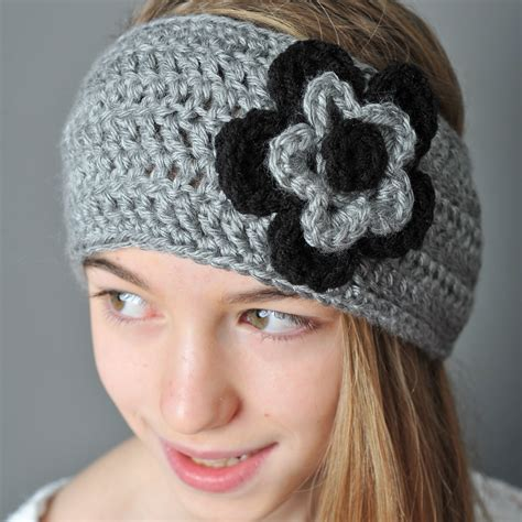 crochet ear warmer with layered flowers petals to picots