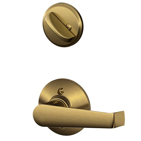 Schlage Interior Door Hardware Shop Schlage Elan 1 3 8 In To 1 3 4 In Antique Brass Traditional Single Cylinder Lever Entry