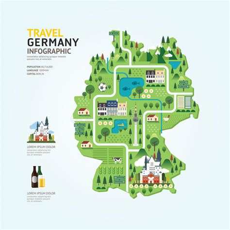 map layout graphic design infographic travel and landmark germany map shape template