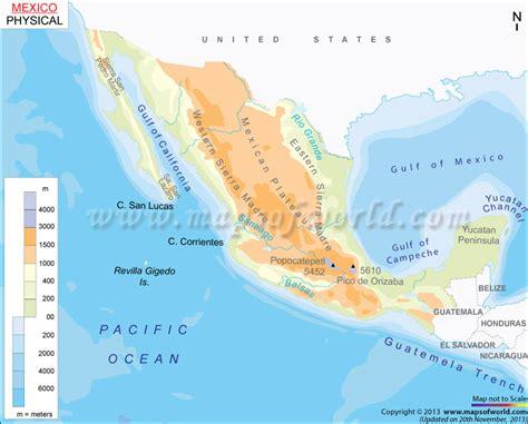mexico physical map physical map of mexico mapa fisico de mexico