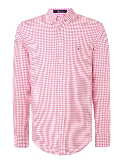 Gingham Shirt gant classic gingham shirt in pink for lyst