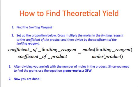 How To Find For A Theoretical Yield Lyons Rawr For Chemistry Finding The Limiting Reagent