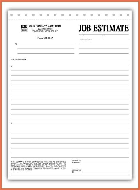 estimate forms custom quote for carbonless estimate forms