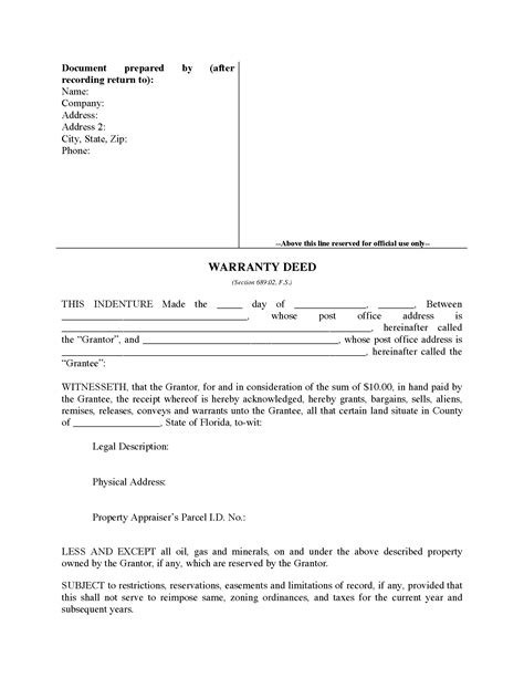 florida warranty deed form legal forms  business