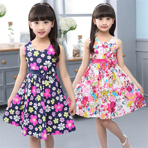 Dress Anak Flower Big big summer dress flower print casual dress lovely cotton clothes baby sleeveless tank