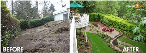 sloped backyard before and after featured landscape projects take root with dennis 7 dees
