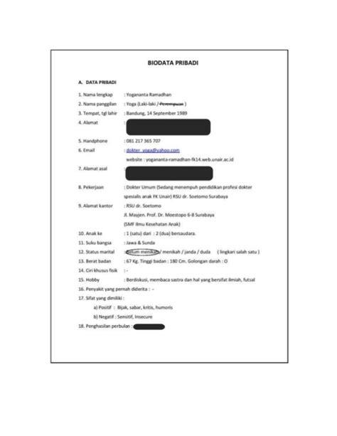 format biodata ta aruf lengkap contoh cv taaruf
