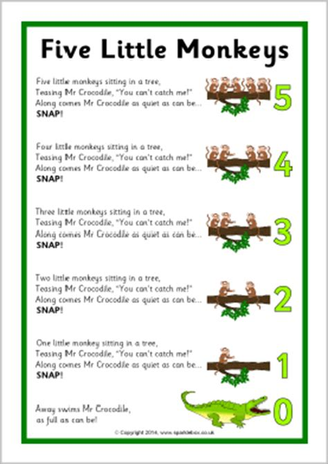 5 little monkeys swinging in a tree lyrics five little monkeys song sheet sb10880 sparklebox