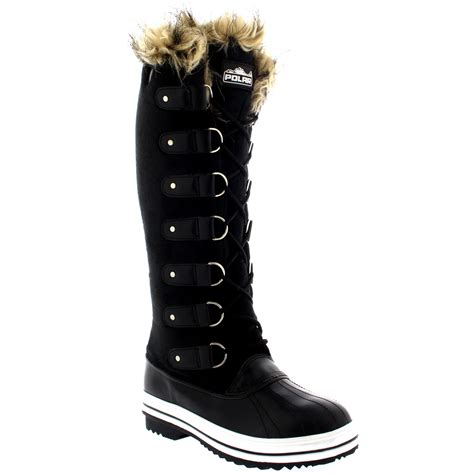 target womens snow boots womens fur cuff lace up rubber sole knee high winter snow