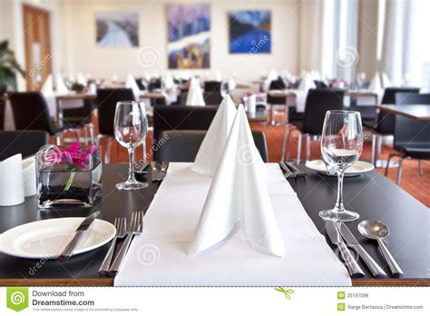 Purple Dining Room Ideas tables with formal setup in modern restaurant stock photo