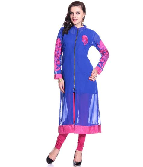 Sleeve Kurta Zipper 1 Grace Designs Royal Blue Zipper Kurti