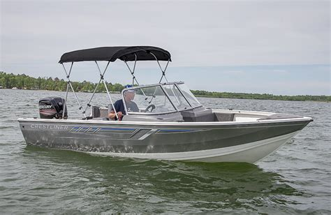 fishing boat bimini top crestliner 1700 vision top entry level fishing boats
