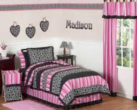 Pink and black madison girls children amp teen bedding 3pc full queen