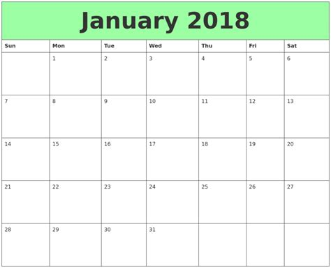 printable calendar for january 2018 print january 2018 calendar