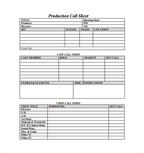 call sheet template 23 free word pdf documents