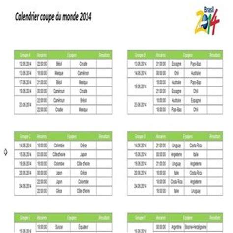 dates et horaires des matchs de la coupe du monde 2014