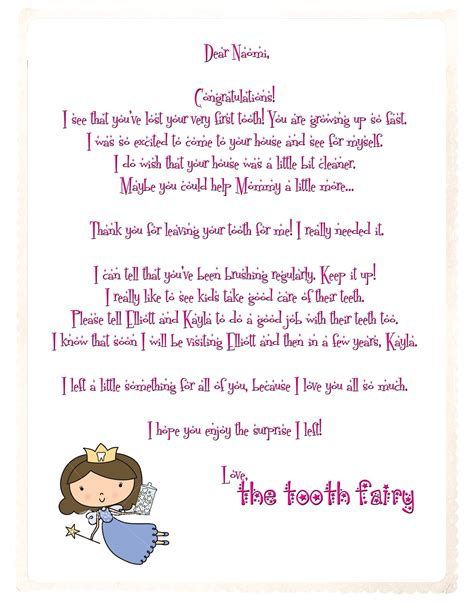 letter to the tooth fairy printable crafts