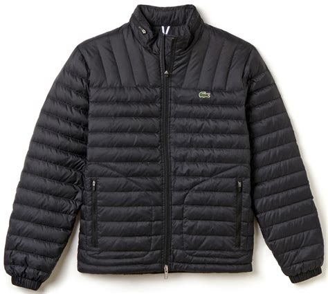 lacoste jacket lightweight quilted puffer black