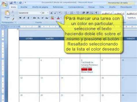 Como Hacer Un Calendario De Actividades Word Generar Un Calendario De Tareas