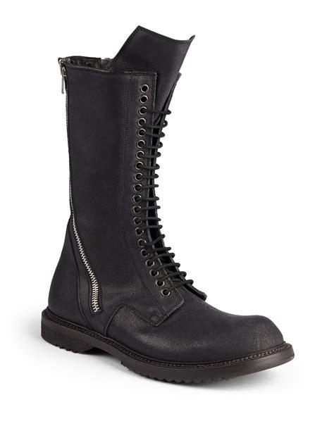 rick owens combat boots rick owens zip mid calf leather combat boots in