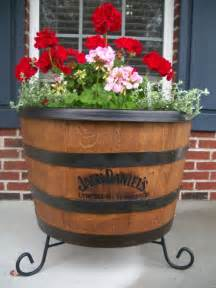 our whisky barrel planter gardening