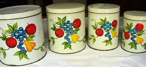 tin kitchen canisters metal tin kitchen canisters metal set of 4 vintage handpainted