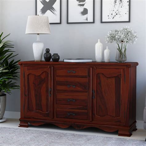 Wood Sideboard by Rustic Solid Wood 4 Drawer Large Sideboard Cabinet