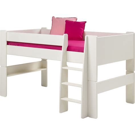 Mid Sleeper Bed White steens glossy white mid sleeper bed frame next day