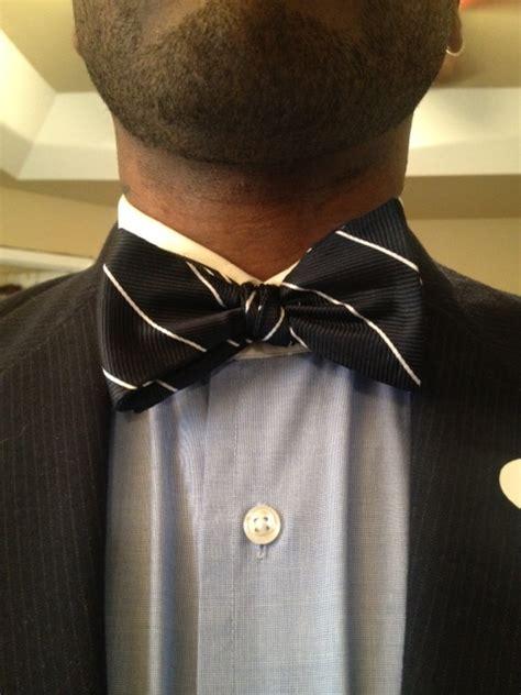 Collar Shirt With Bow Tie Blue stripe silk bow tie vintage dope dealer