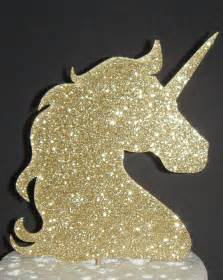 gold glitter card unicorn head silhouette card cake topper