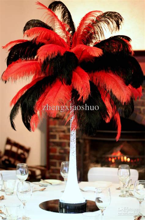 Vase Decoration With Beads Wholesale Prefect 18 20inch45 50cm Red And Black Ostrich