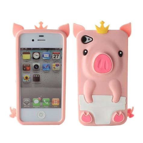 The 3d For Iphone 4 3d pink pig animal silicone soft rubber cover