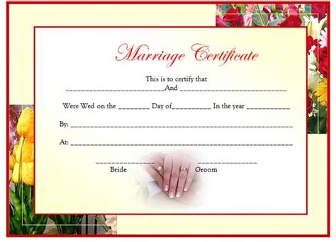 free printable marriage certificate templates search