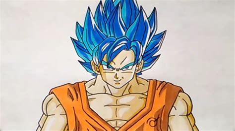 imagenes de goku pelo azul c 243 mo dibujar a gok 250 ssj dios azul how to draw goku ssj