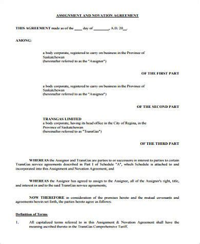 9 Sle Novation Agreements Sle Templates Aircraft Lease Agreement Template