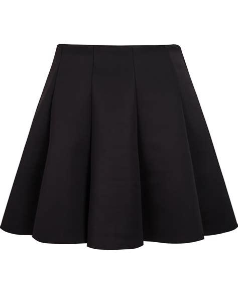 black high waist pleated skirt sheinside