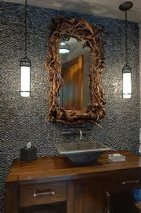 Mediterranean Style Interior Decorating - innovative driftwood mirror trend atlanta rustic powder room decorating ideas with accent tile