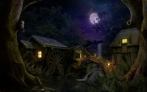 dark village wallpaper watermill under the moonlight full hd wallpaper and