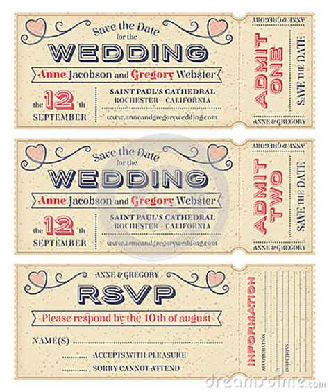vector wedding invite tickets invitation pinterest