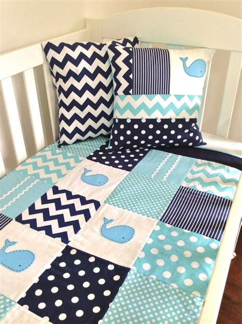 Whale Baby Bedding Sets Whale Baby Quilt Set Baby Boy Crib Quilt And Two Cushion Covers On Etsy 220 91 Quilt