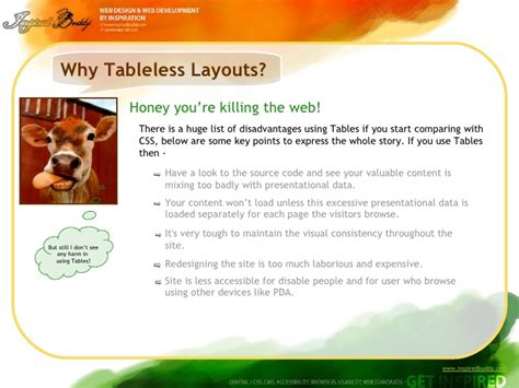 tableless layout using css why tableless layouts