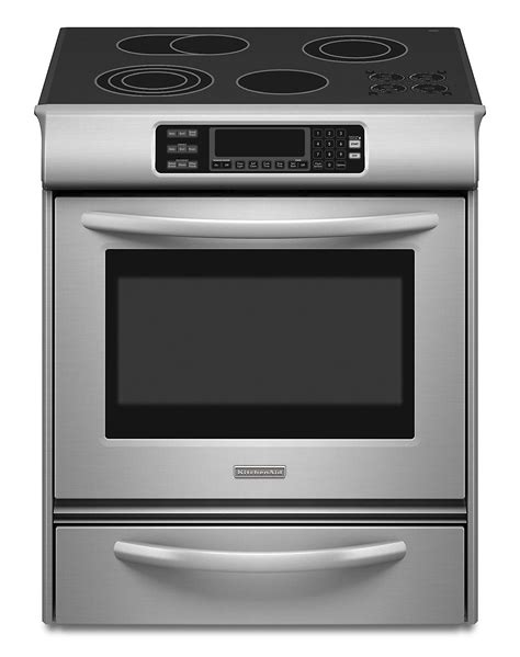 Electric Range With Warming Drawer by Kitchenaid Kess908sps 4 1 Cu Ft Slide In Electric Range